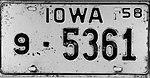 Iowa 1958 license plate - Number 9-5361.jpg