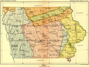 Black Hawk Purchase - Map of Iowa, with the Black Hawk Purchase shown on the right, in yellow.