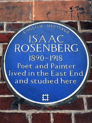 Cable Street - Image: Isaac Rosenberg 1890 1918 Poet and Painter lived in the East End and studied here