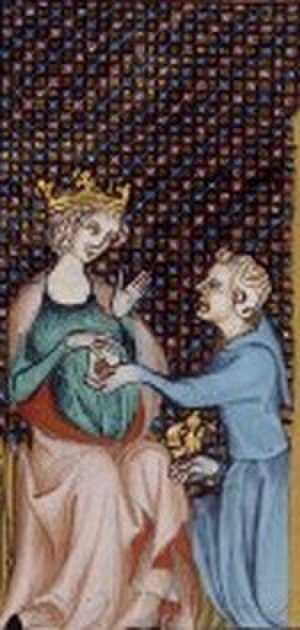 Isabella of France, Queen of Navarre - Isabella receiving a messenger from her father