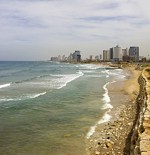 Israeli coastal plain - Tel Aviv's coastline (seen from Jaffa) is highly urbanized