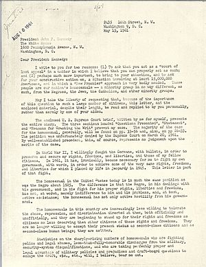 Frank Kameny - Letter from Kameny to President Kennedy, JFK Presidential Library