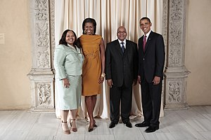 Jacob Zuma - President Zuma and his second wife Nompumelelo Ntuli with Barack Obama and Michelle Obama in New York, 2009