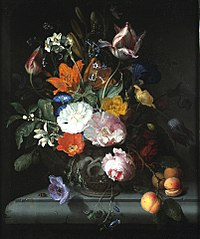 Still Life of Flowers with a Branch of Peaches