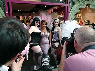 Photo shoot - Jacqueline Gold and models at a photo shoot, New Oxford Street, London.