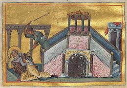 Peinture représentant un homme frappant avec un bâton un homme agenouillé portant un habit religieux