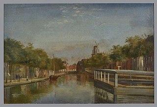 Goudsesingel met molen bij de Oostpoort