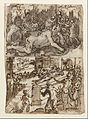 Jan van der Straet, called Stradanus - Recto Title- Page of a sketchbook showing two scenes, one including the Blinding of Cyclops. - Google Art Project.jpg