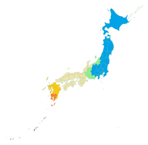 Japanese dialects - Eastern Japanese dialects are blue, Western Japanese tan. Green dialects have both Eastern and Western features. Kyushu dialects are orange; southern Kyushu is quite distinctive.