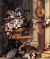 Jean-Baptiste Belin d. Ž. - Flowers in a Gold Vase, Bust of Louis XIV, Horn of Plenty and Armour - WGA01593.jpg