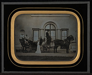 Landau (carriage) - 1849 daguerreotype of a landau carriage ready for a family outing.