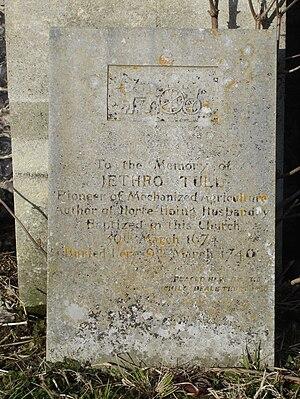 Jethro Tull (agriculturist) - Tull's gravestone in St Bartholomew's churchyard.