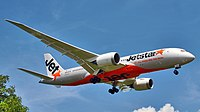 Jetstar Airways (VH-VKD) Boeing 787-8 Dreamliner landing at Ngurah Rai International Airport.jpg