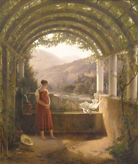 <i>Young Woman at a Fountain</i> painting by François Fleury-Richard