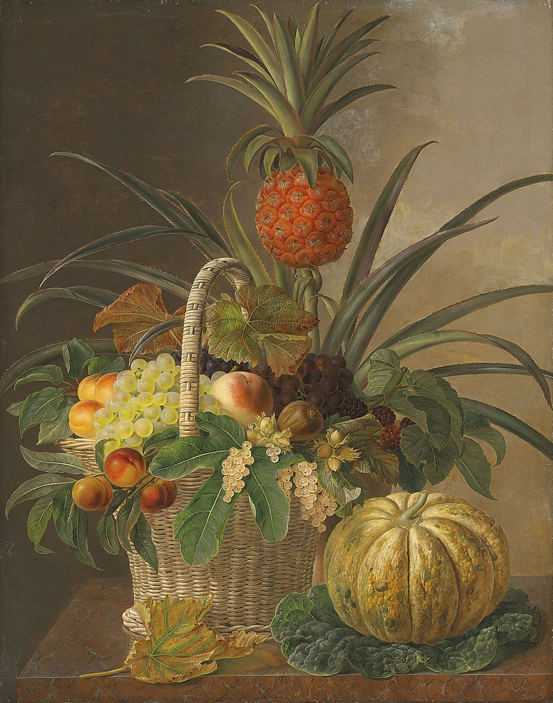 Johan-laurents jensen pineapple grapes peaches nuts and berries in a b.jpg