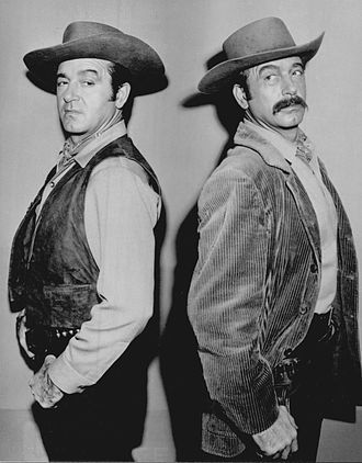 """The Restless Gun - John Payne as Vint Bonner and villain Gene Baroda:  The dual role in the 1959 episode """"Dead Ringer"""" ended with a shootout between his two characters."""