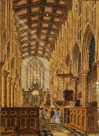 John Preston Neale - Melford church interior