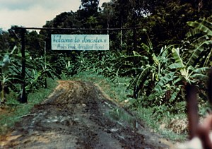 Jonestown - The entrance to Jonestown.
