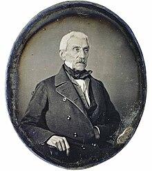 José de San Martín, en un retrato al daguerrotipo de 1848, Museo Histórico Nacional (Argentina).