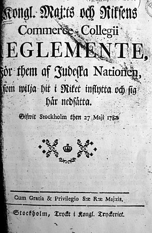 History of the Jews in Sweden - The Jewish Ordinance of 1782