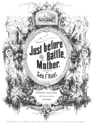 "Just Before the Battle, Mother - Cover of the 1864 sheet music for ""Just Before the Battle, Mother"""