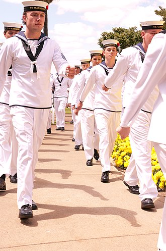 Australian Navy Cadets - Australian Navy Cadets marching during Remembrance Day ceremony Kings Park, Western Australia, 11 November 2012.