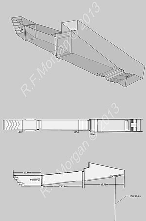 KV18 - Isometric, plan and elevation images of KV18 taken from a 3d model