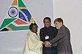 Kamal Nath joins hands with the Foreign Affairs Minister of South Africa, Ms. Nkosazana Alamini Zuma and the Foreign Affairs Minister, Brazil Mr. Celso Luiz Nunes Amorim, in Brazil, on September 13, 2006.jpg