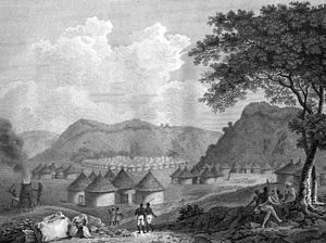View of Kamalia in Mandingo country, Africa from: Mungo Park: Travels in the interior districts of Africa
