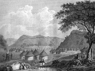 Mungo Park (explorer) - View of Kamalia in Mandingo country, Africa, from: Mungo Park, Travels in the Interior Districts of Africa