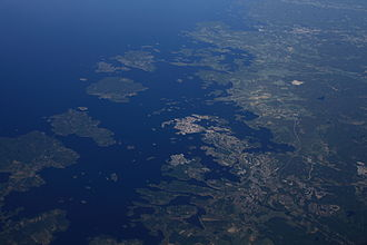 Blekinge archipelago - Aerial view of the eastern part of Blekinge archipelago with Karlskrona in the centre