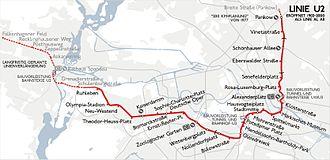 U2 (Berlin U-Bahn) - Image: Karte berlin u u 2