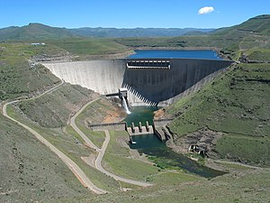 Water supply and sanitation in South Africa - The Katse dam in Lesotho is an important source of water supply for the arid Gauteng area around Johannesburg, the industrial heartland of South Africa.