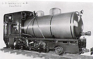 Fireless locomotive - Finnish fireless locomotive showing typical configuration. Note the fitting at the front of the tank for refilling