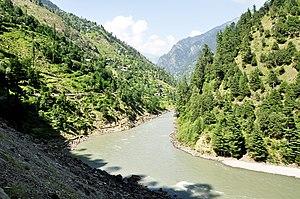 Neelum River -  Neelum River alongside Taobut Kel