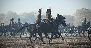 King's Troop, Royal Horse Artillery - The King's Troop riding in Hyde Park in preparation for a Royal Salute for the birthday of Prince Charles in 2012.