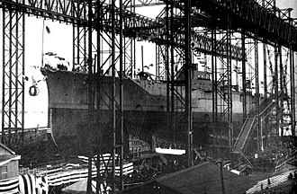 Japanese battleship Kirishima - Kirishima being launched, December 1, 1913