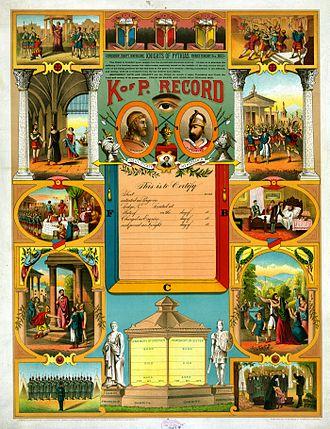 Knights of Pythias - Knights of Pythias membership certificate, 1890