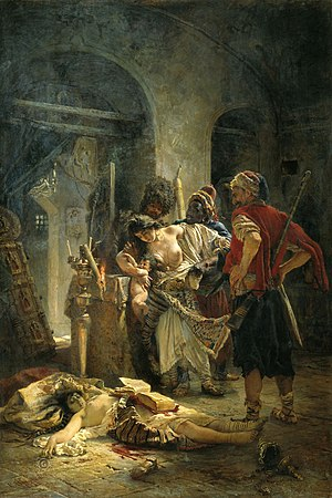 Humanitarian intervention - The Bulgarian Martyresses (1877), a painting by Konstantin Makovsky, which shocked Europe.