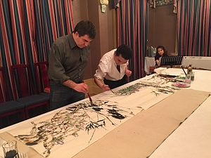 Konstantin Novoselov - Novoselov while painting at the residence of Chinese Consul General Li in Manchester.
