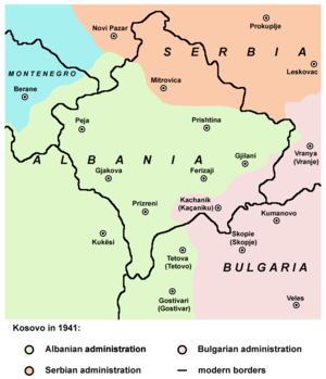 Vulnetari - Modern-day region of Kosovo in 1941