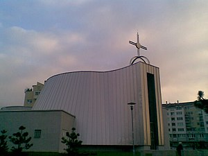 St. Francis Square (Bratislava) - Church of St. Francis of Assisi (side view)