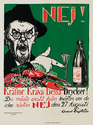 Albert Engström - Anti-prohibition poster from 1922