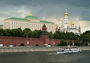 English: Moscow Kremlin, thunderstorm brewing ...