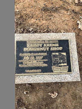Krispy Kreme - Plaque in Winston-Salem, NC that commemorates the first Krispy Kreme