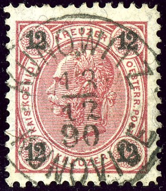 Kunovice (Uherské Hradiště District) - Austrian KK 12 kreuzer stamp, bilingual cancelled in 1890