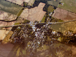 La Fontaine, Indiana - La Fontaine from the air, looking west.