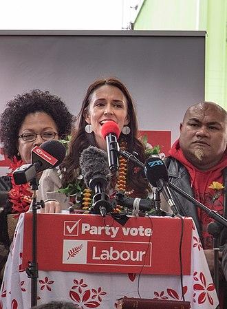 David Tua - Tua (right) with Prime Minister Jacinda Ardern at a political rally