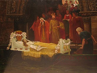 Elaine of Astolat - Elaine's body arrives at Camelot in 19th-century painting by unknown artist