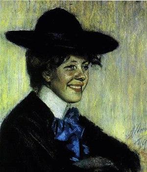 Marie Under - Portrait of Marie Under by Estonian artist Ants Laikmaa in 1904